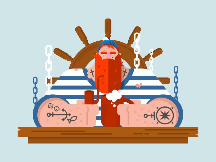 Sailor character flat vector illustration