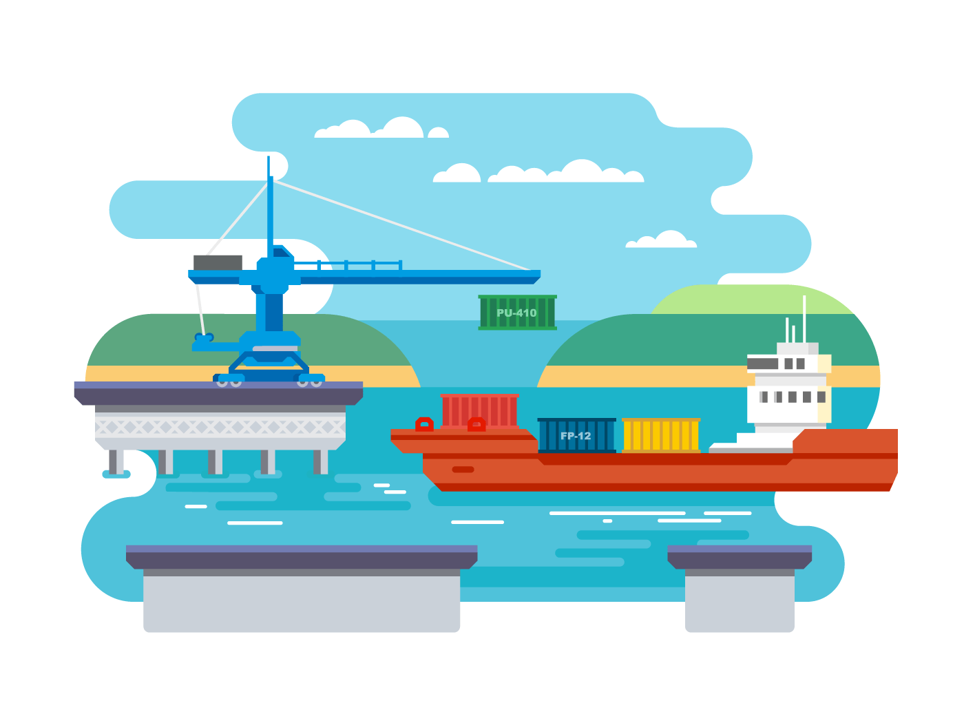 Cargo freight shipping by water flat illustration