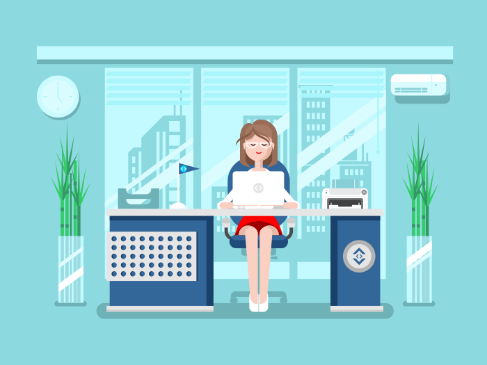 Secretary in office flat vector illustration