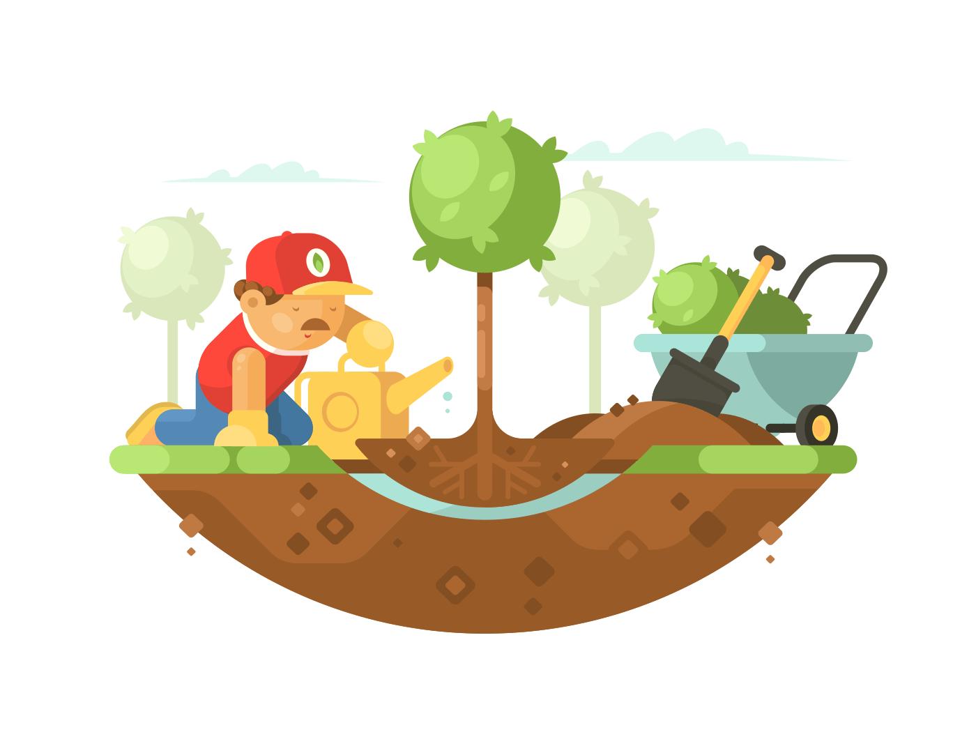 Gardener watering seedling illustration