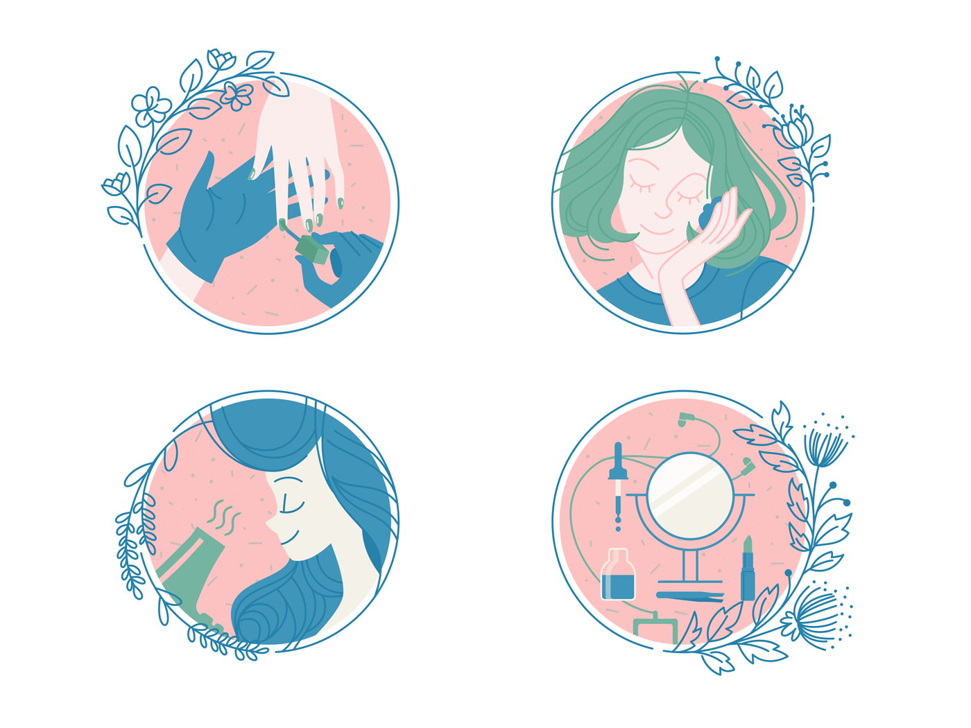 Female care and spa icon set