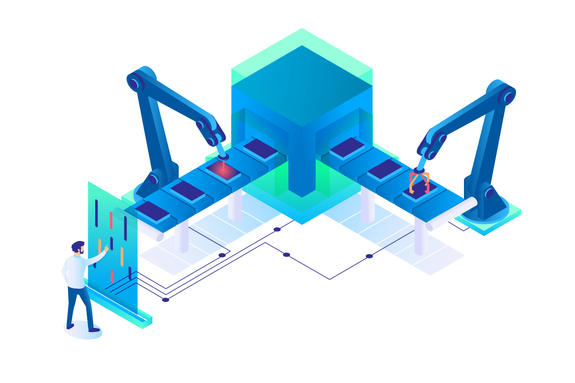 3d isometric man at work with semi automatic production.