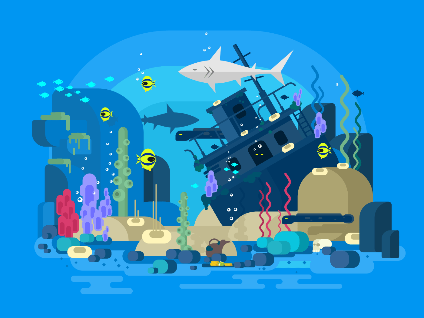 Sunken ship under water flat vector illustration