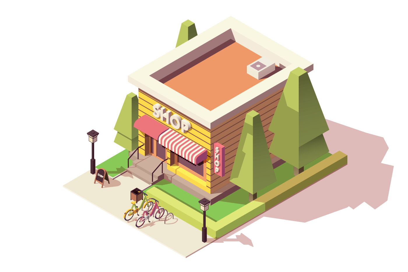 Small shop with bicycle parking and hedge.