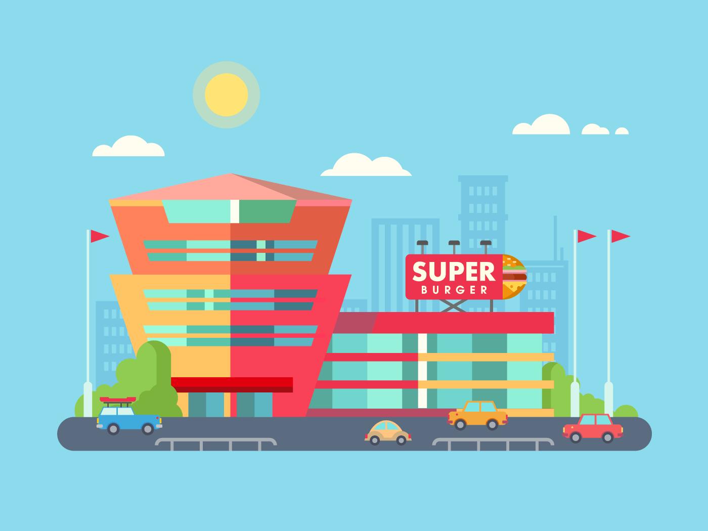 Supermarket building vector illustration