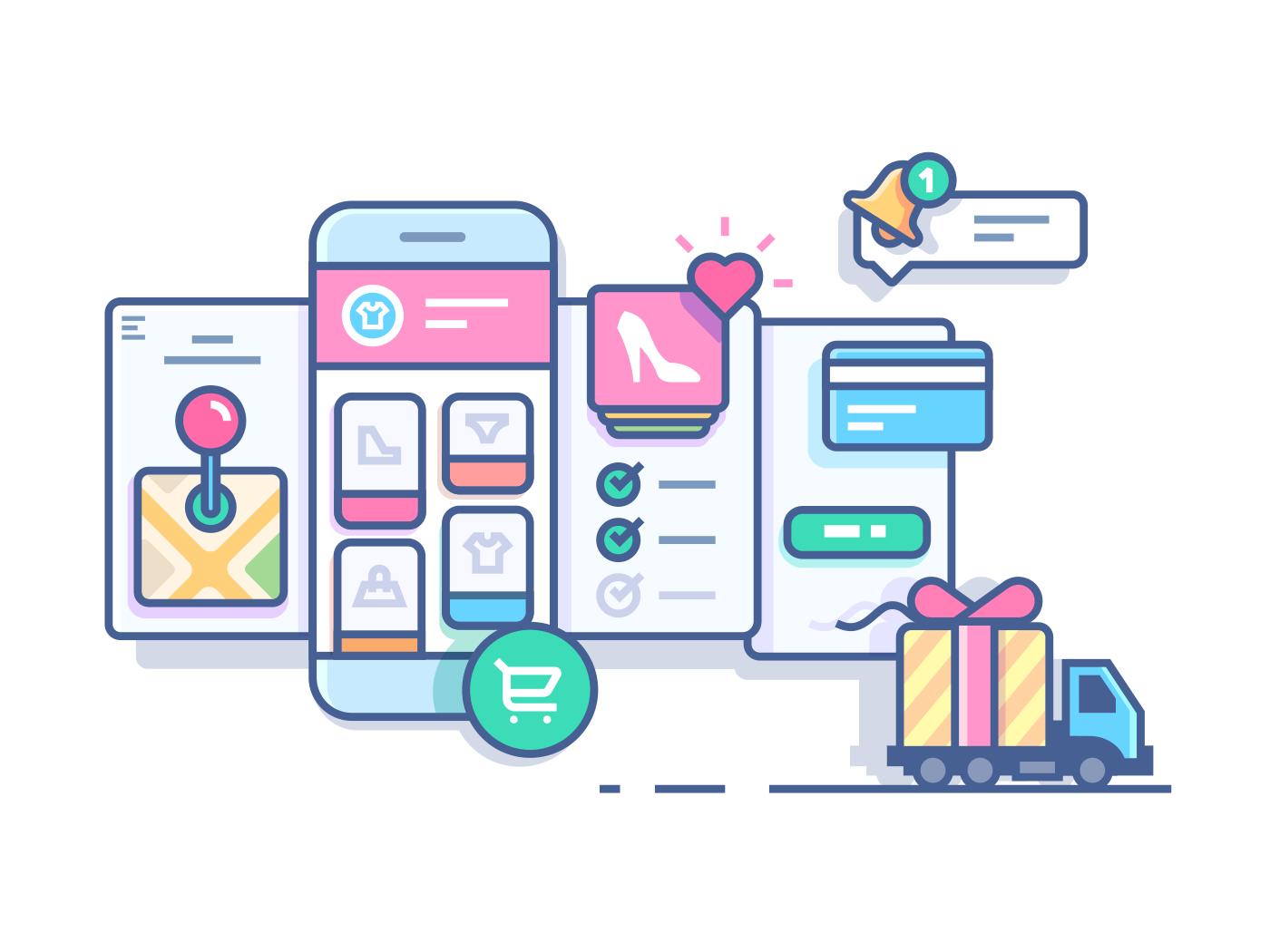 Online mobile shop line vector illustration