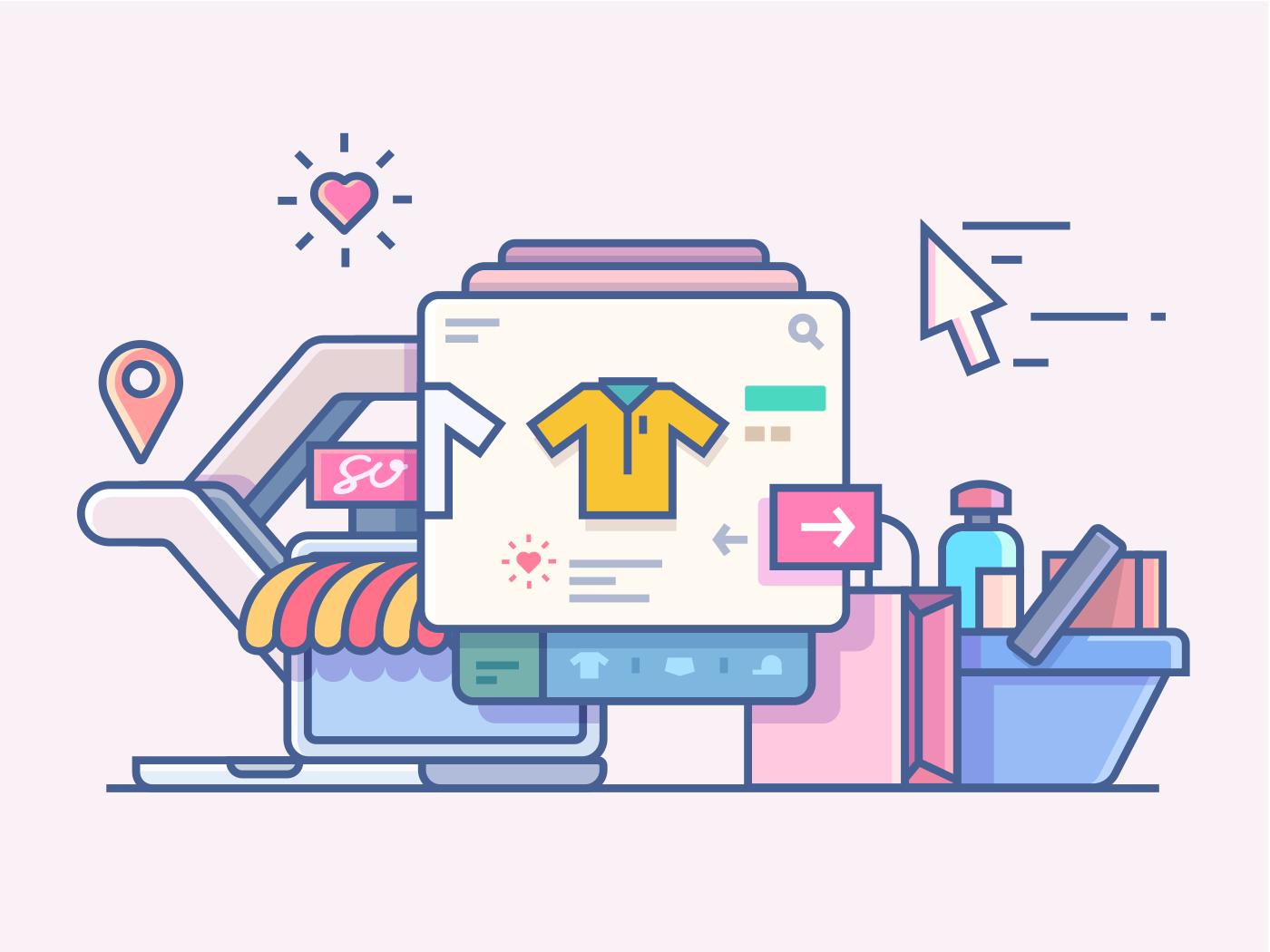 Shop online line vector illustration