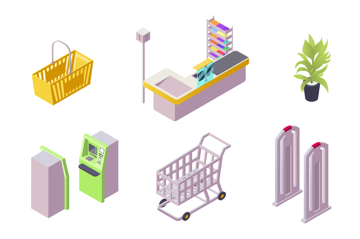 Isometric 3d collection isolated urban element of shopping center.