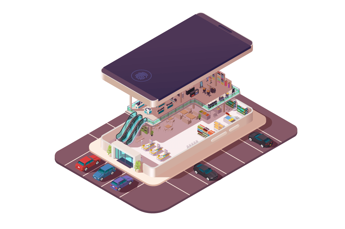 Isometric 3d shopping center assembly in smartphone.