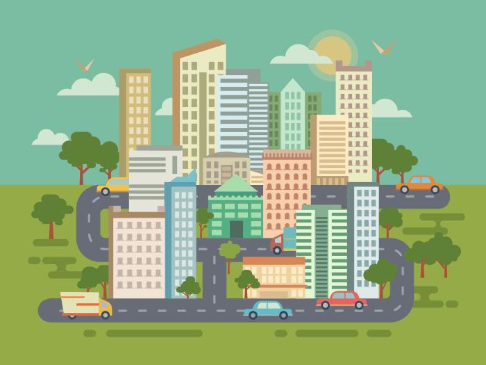 City landscape flat illustration