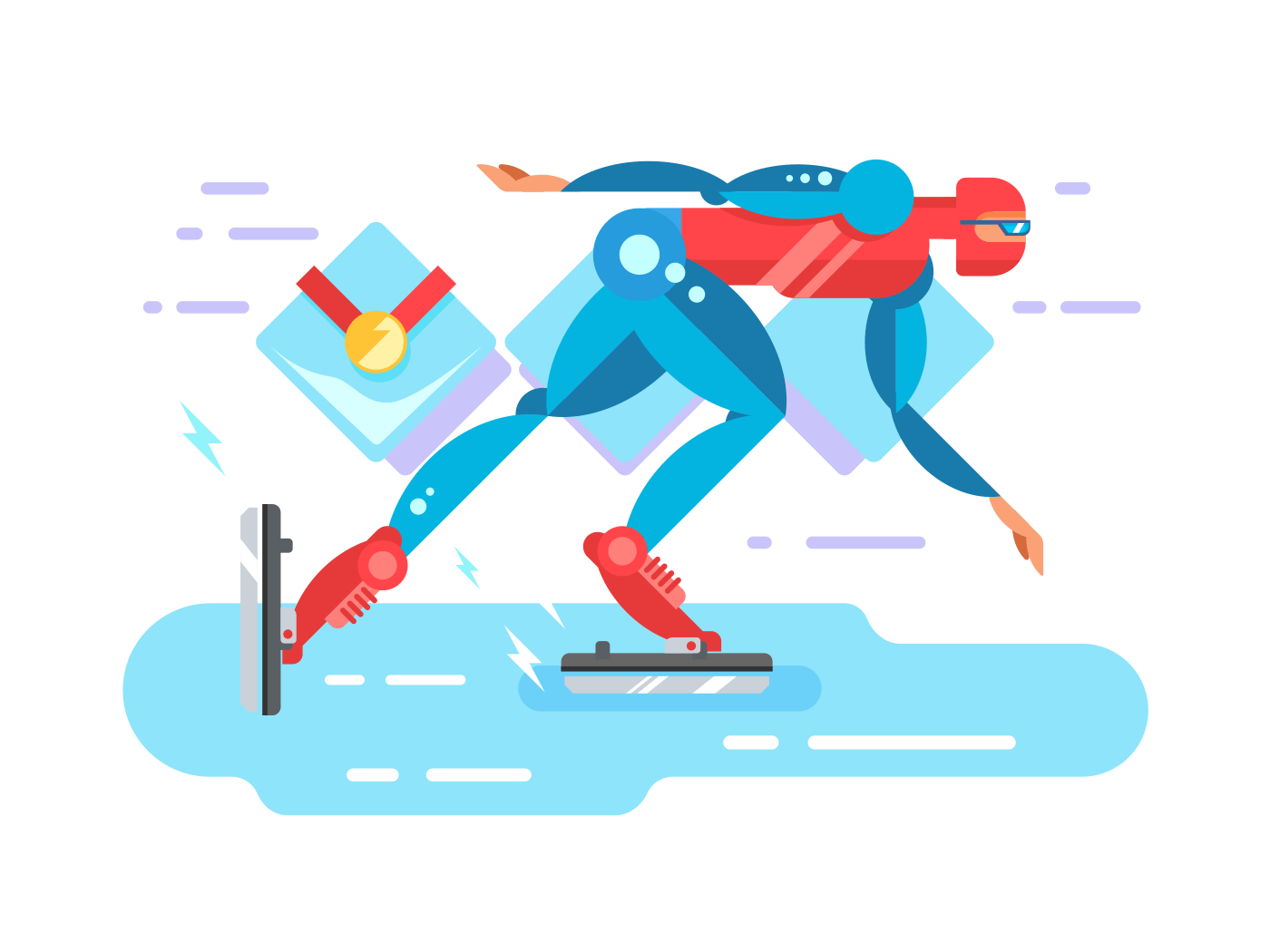 Ice speed skater cartoon character flat vector illustration