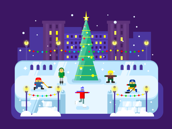 Municipal skating rink Christmas tree flat vector illustration