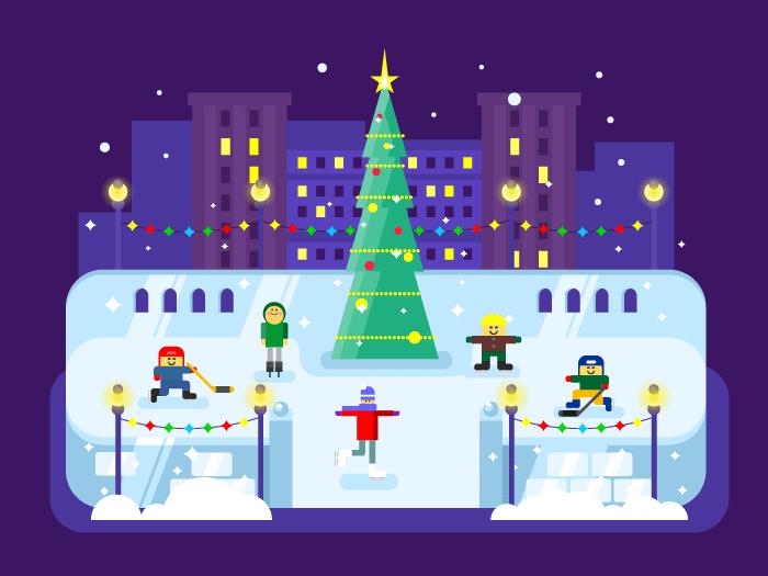 Municipal skating rink Christmas tree flat vector illustration