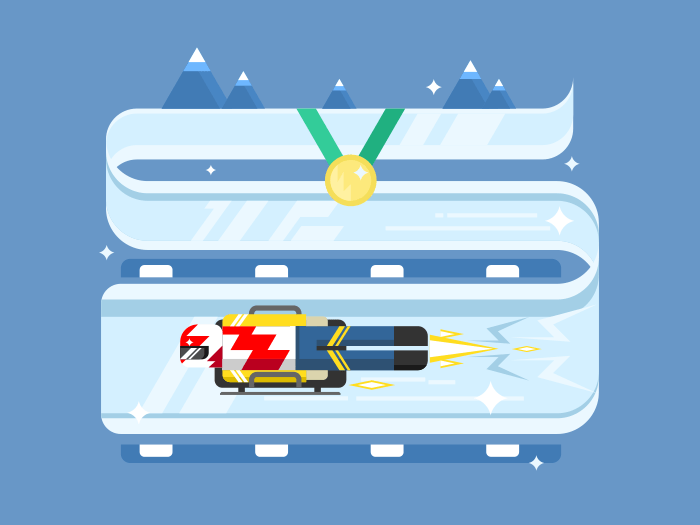 Skeleton winter sports flat vector illustration