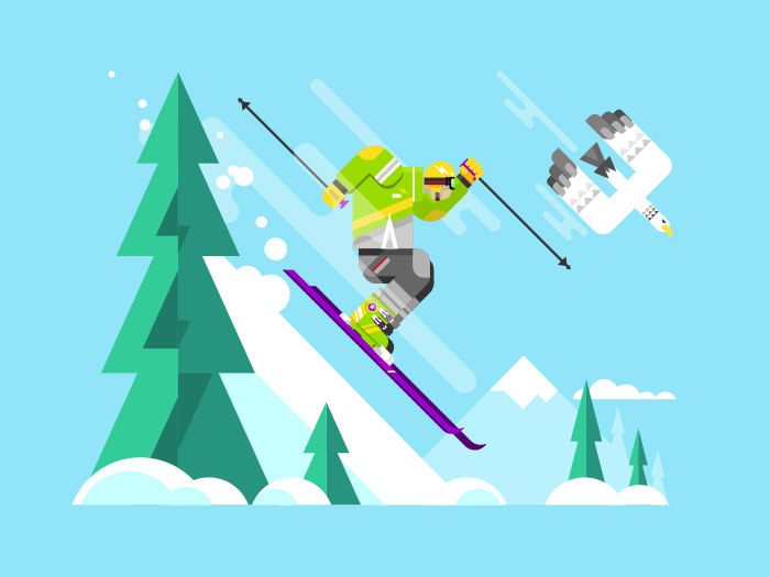 Skier character flat vector illustration