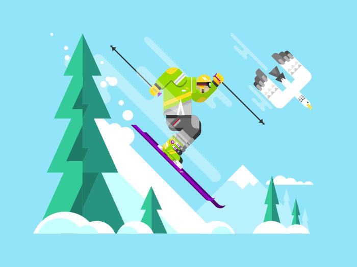 Skier character flat vector illustration