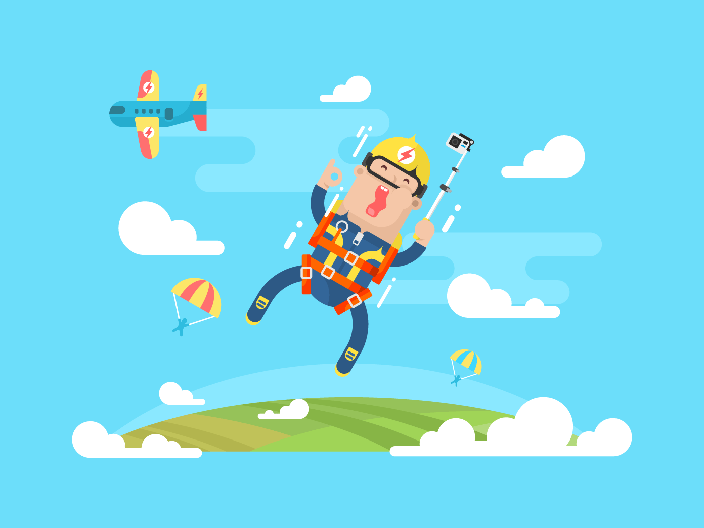 Skydiving sport flat vector illustration