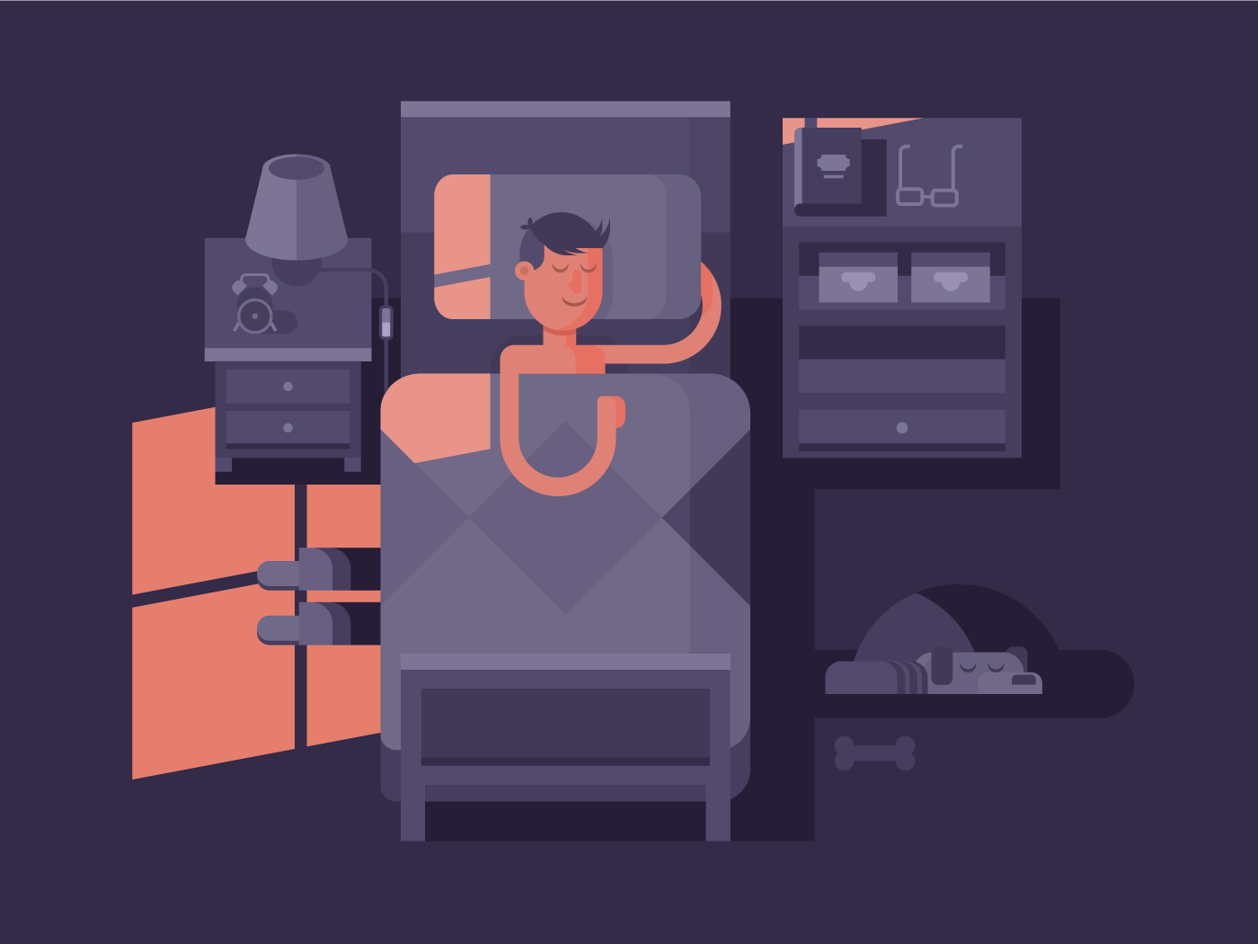 Man sleep in bed flat vector illustration