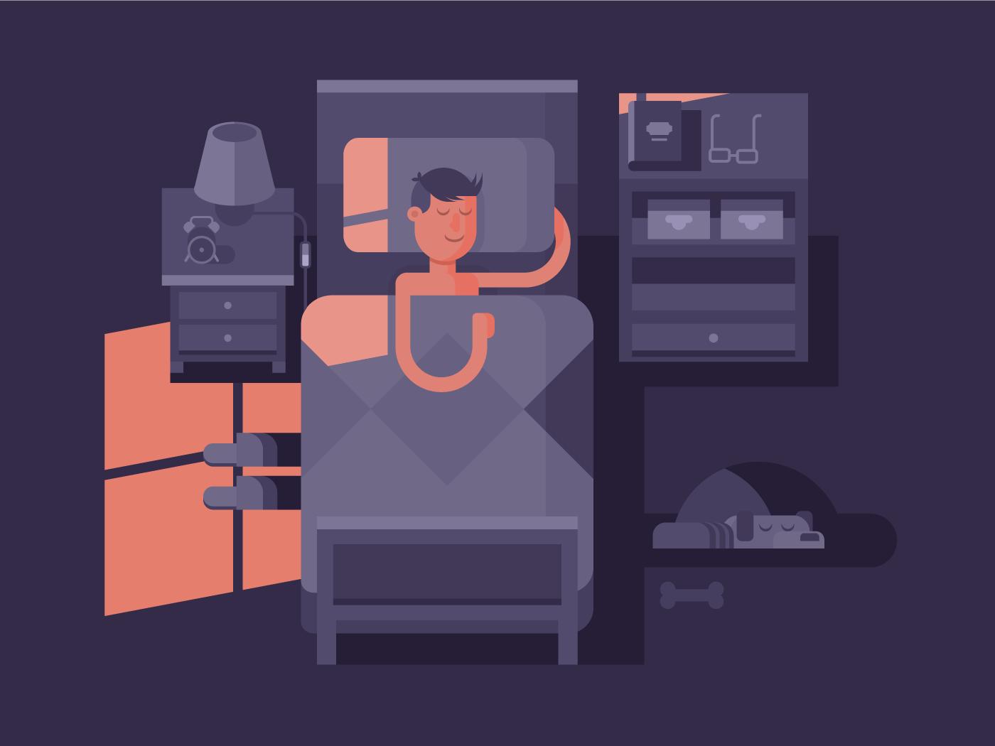 Man sleep in bed flat vector illustration