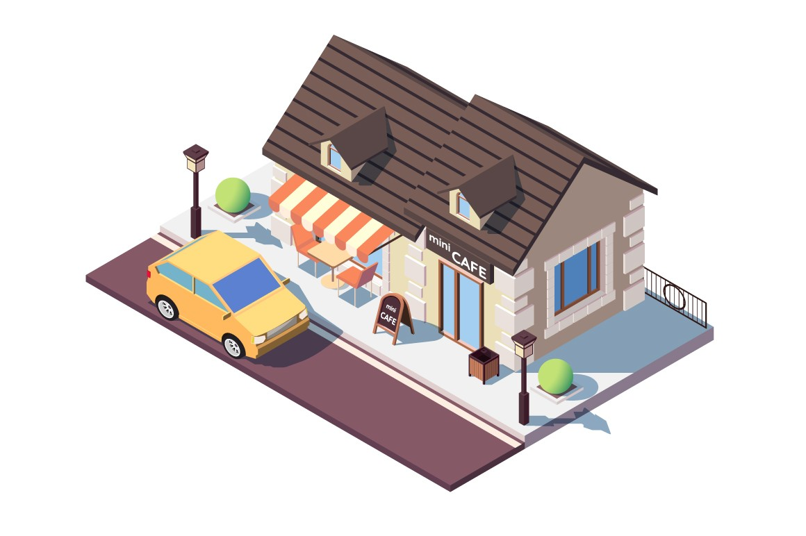 Small cafe with parked car