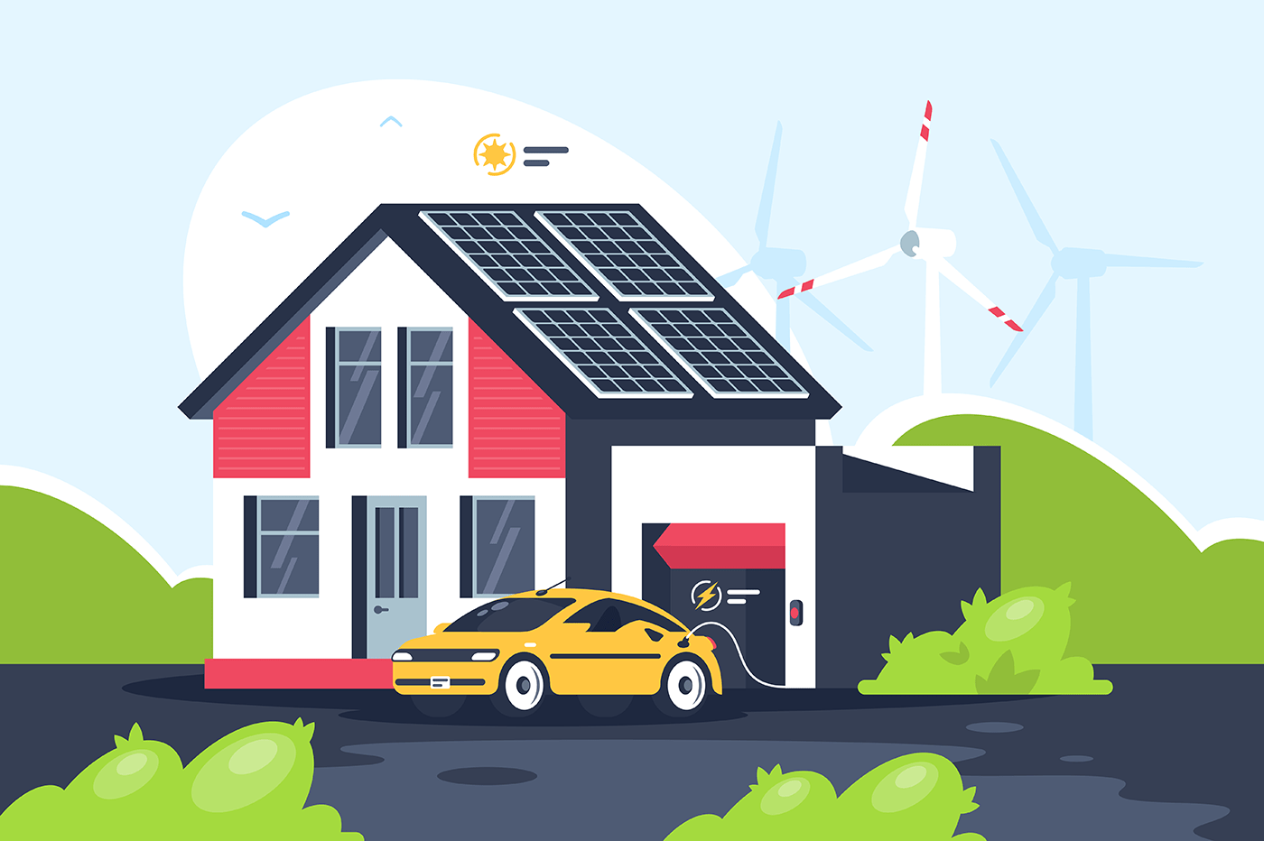 Smart eco house with electric car.