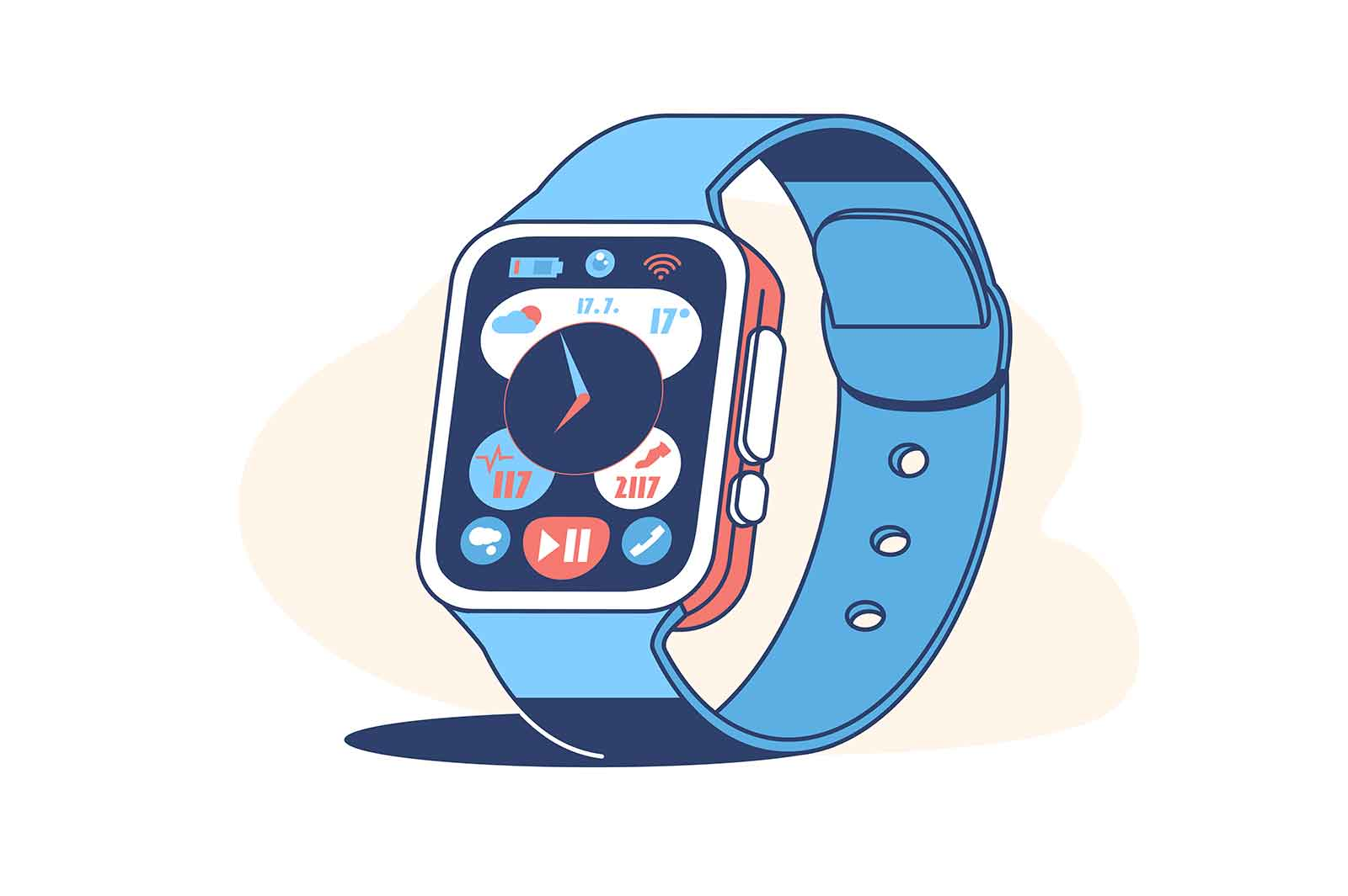 Smart watch device display with app icons vector illustration. Fitness tracker flat style. Blue colour of accessory. Modern technology concept. Isolated on white background