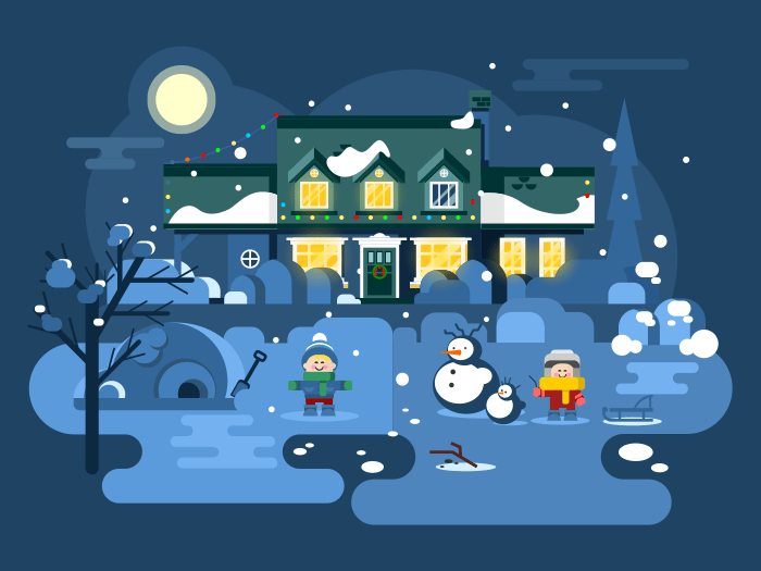 Winter night children play flat vector illustration