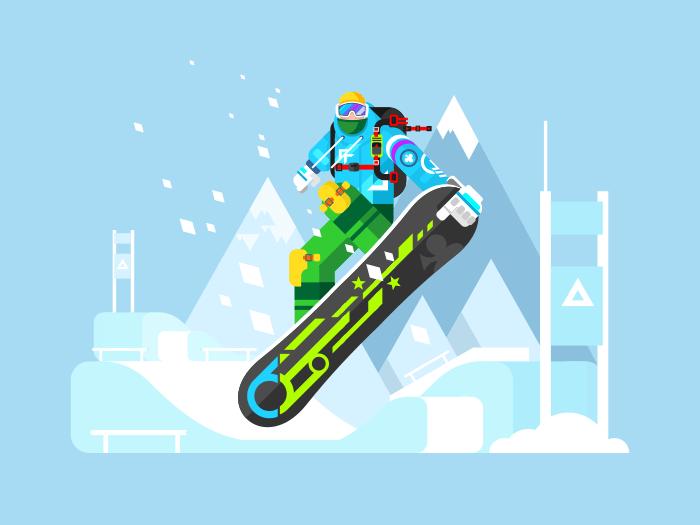 Snowboarder cartoon character flat vector illustration