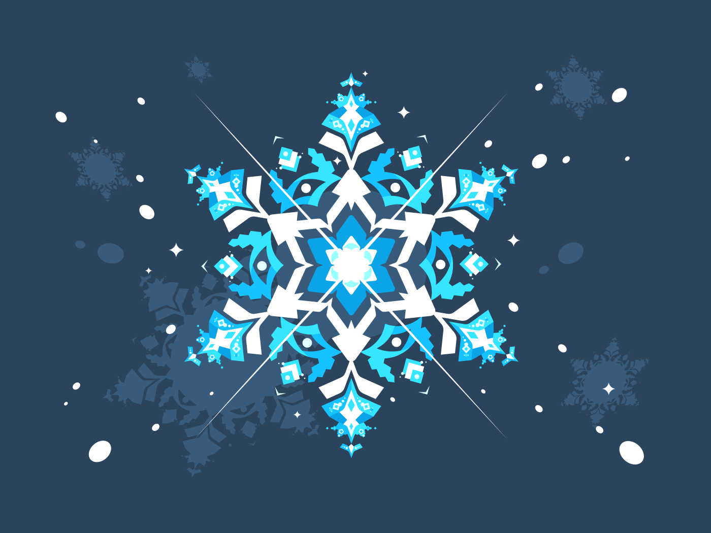 Abstract snowlflake flat design. Illustration of art snow for xmas holiday vector