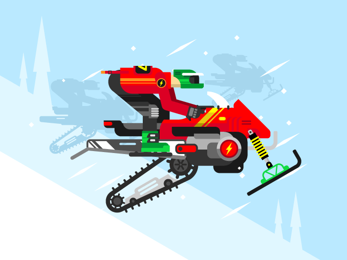 Racing competitions on snowmobiles flat vector illustration