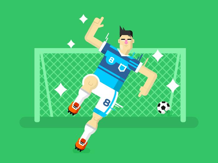 Soccer player flat vector illustration