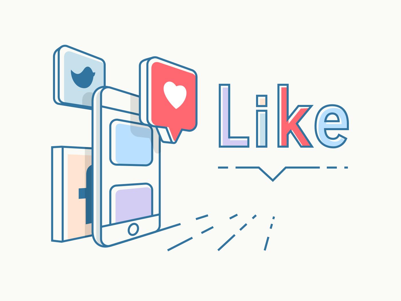 Social media concept design line vector illustration