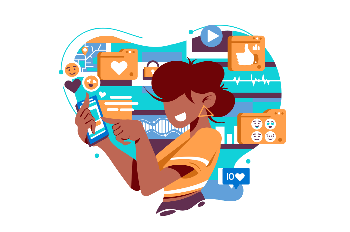 Flat isolated young american woman with mobile phone, and social network icons.