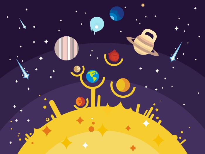 Solar system flat illustration