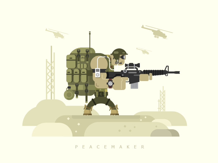 Character military peacekeeper flat vector illustration