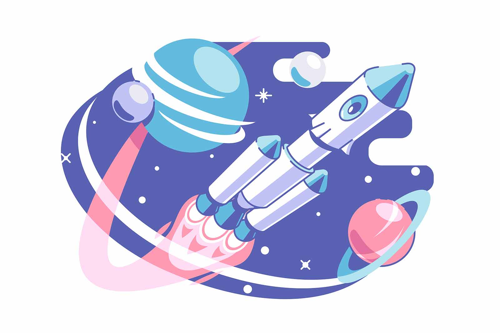 Space and galaxy exploring vector illustration. Astronaut in spaceship explore cosmos flat style. Stars and planets. Astronomy and science concept. Isolated on white background