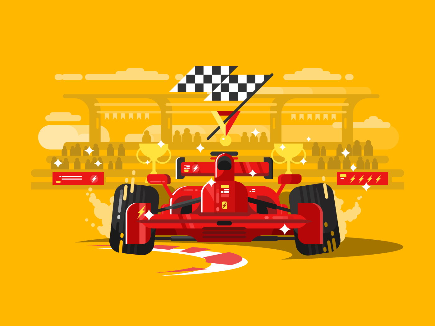 Sport car in race flat vector illustration