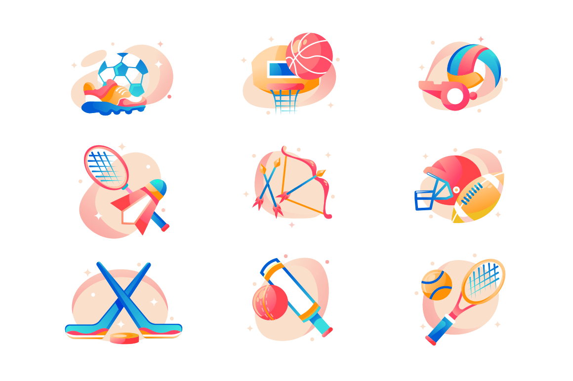 Flat sport icon set with football, basketball, hockey, badminton, rugby, archery and cricket.