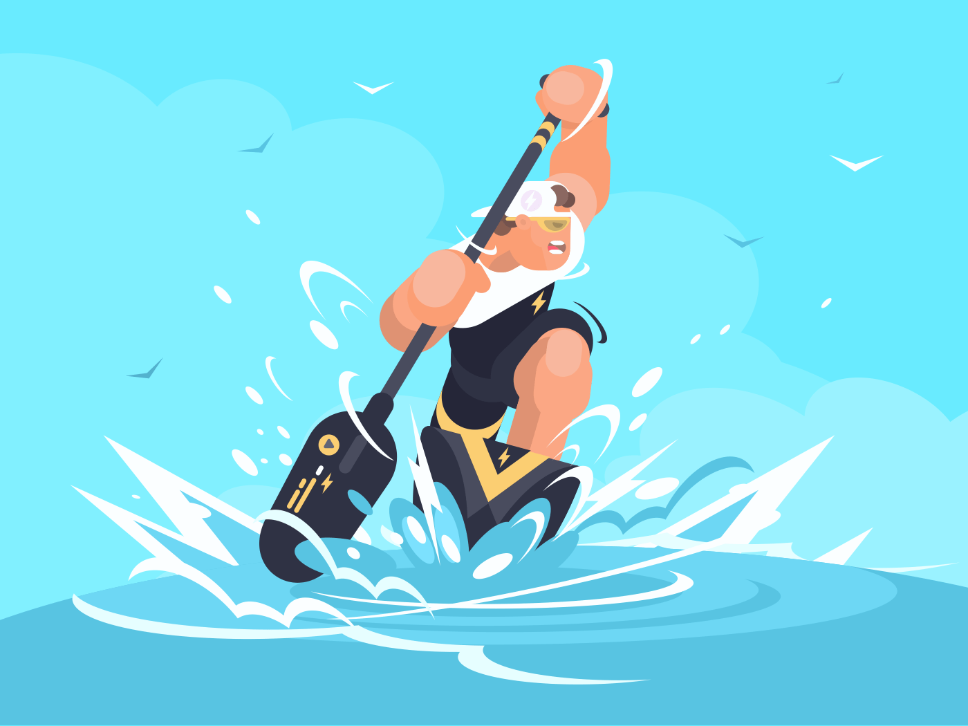 Strong man swims in canoe at sporting event. Vector illustration