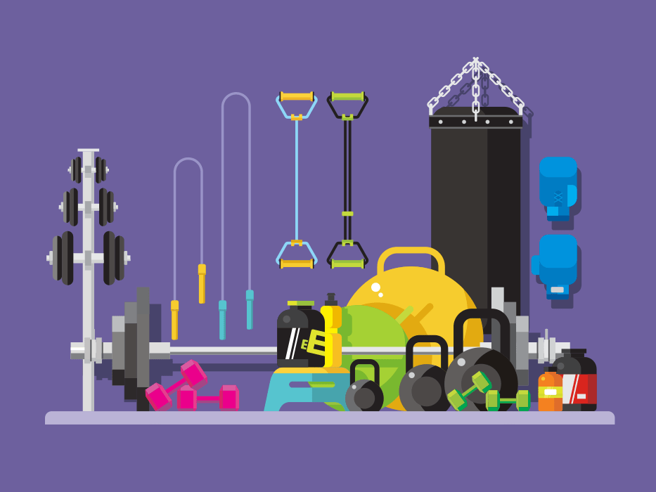 Gym, sports equipment flat vector illustration