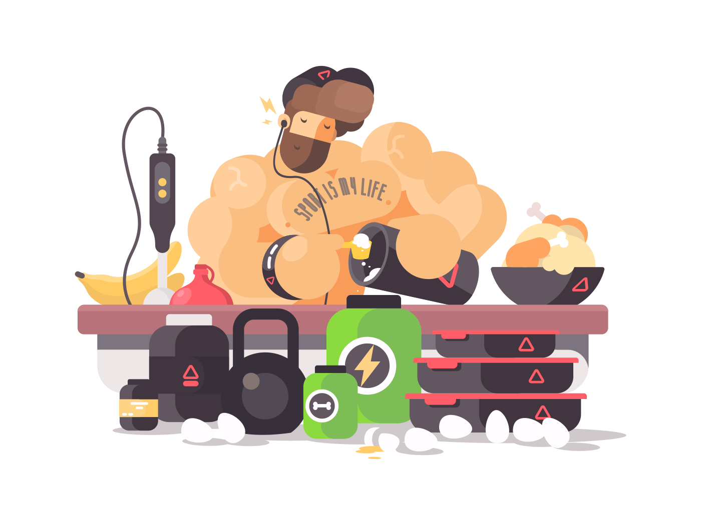 Bodybuilder athlete prepares protein cocktail illustration