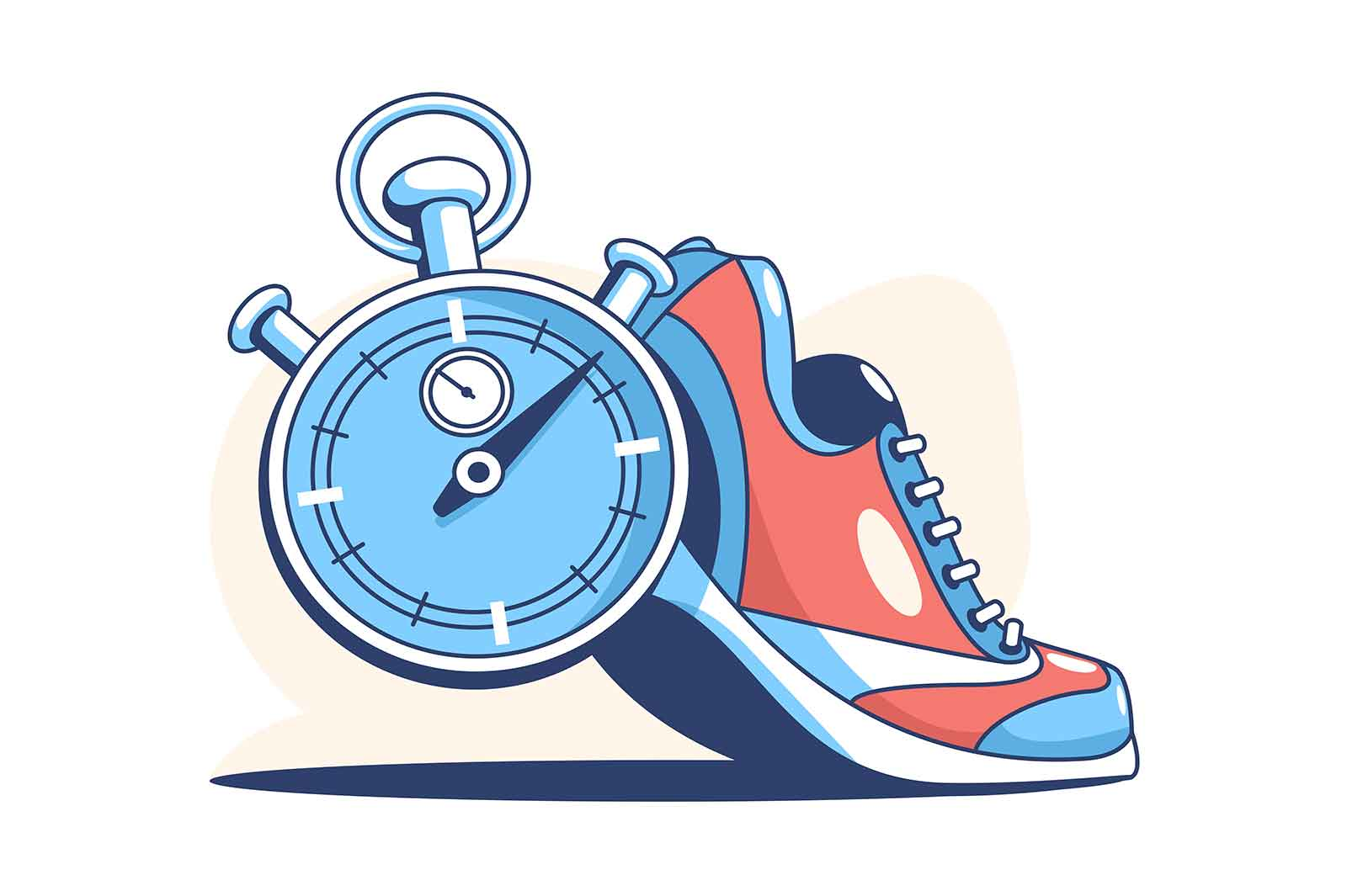 Sneaker and stop watch vector illustration. Comfy footwear and timer flat style. Active lifestyle. Sport and running competition concept. Isolated on white background
