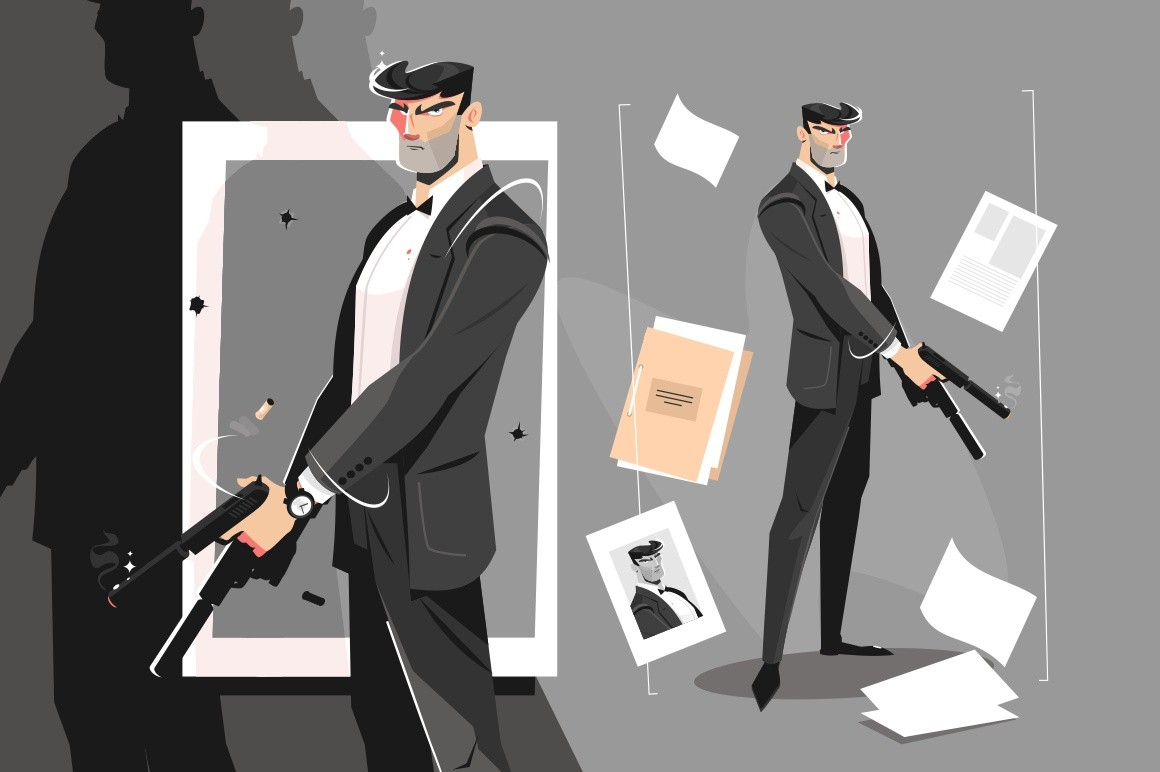 Male spy with handgun vector illustration. Evil killer in business suit holding silenced pistol flat style concept. Photo and documents with dossier lying around
