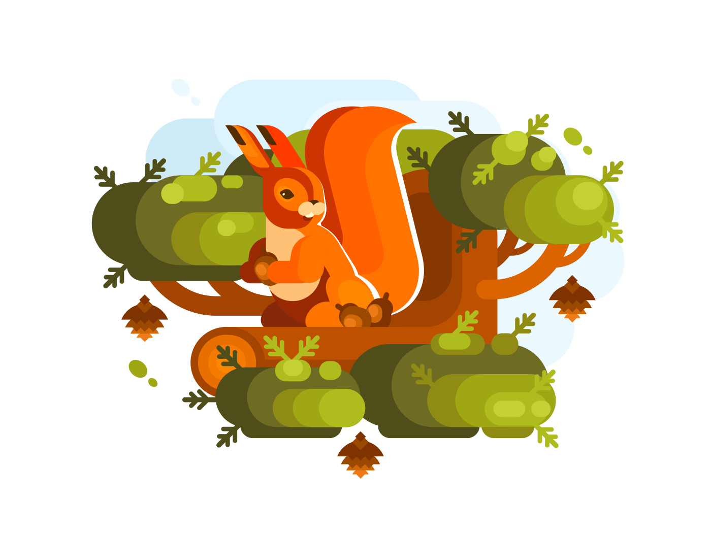 Cartoon squirrel with acorn sitting on branch of green tree. Vector illustration