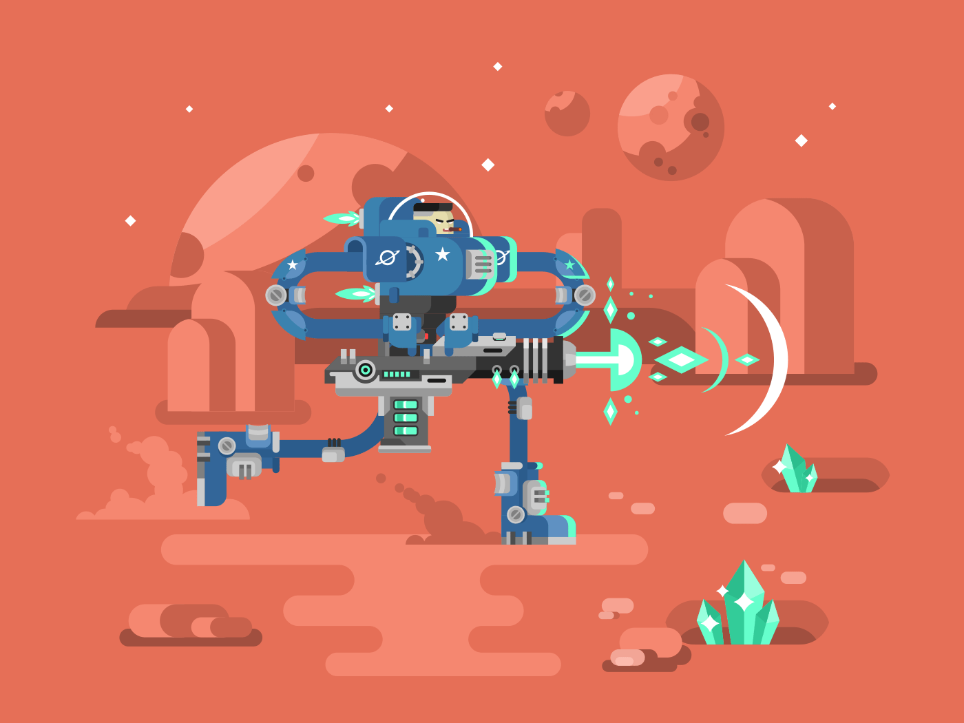 Starship troopers character flat vector illustration