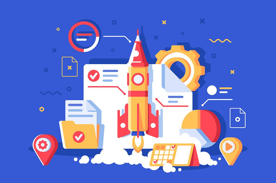 Flat start up project with rocket, gear wheel, planning, folder, diagram.