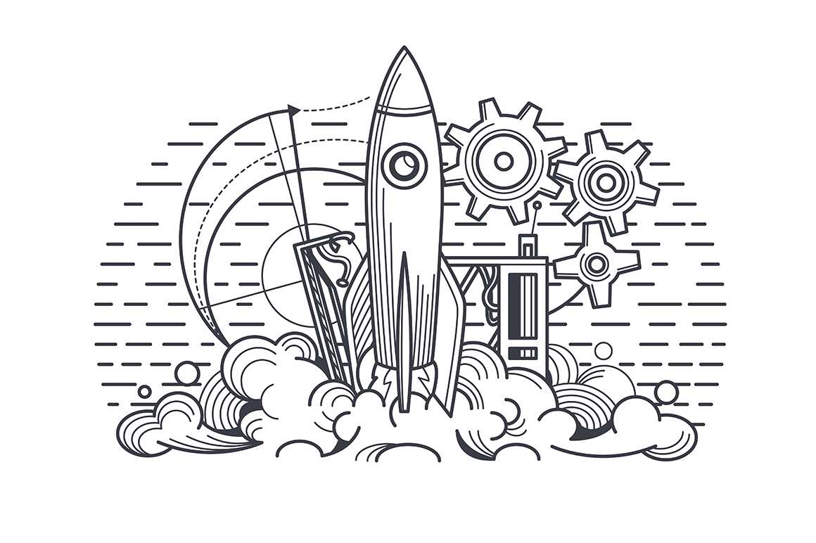 Launch of project vector illustration. New business start-up. Successful rocket launch into space in white and black colour flat style design. Isolated on white background