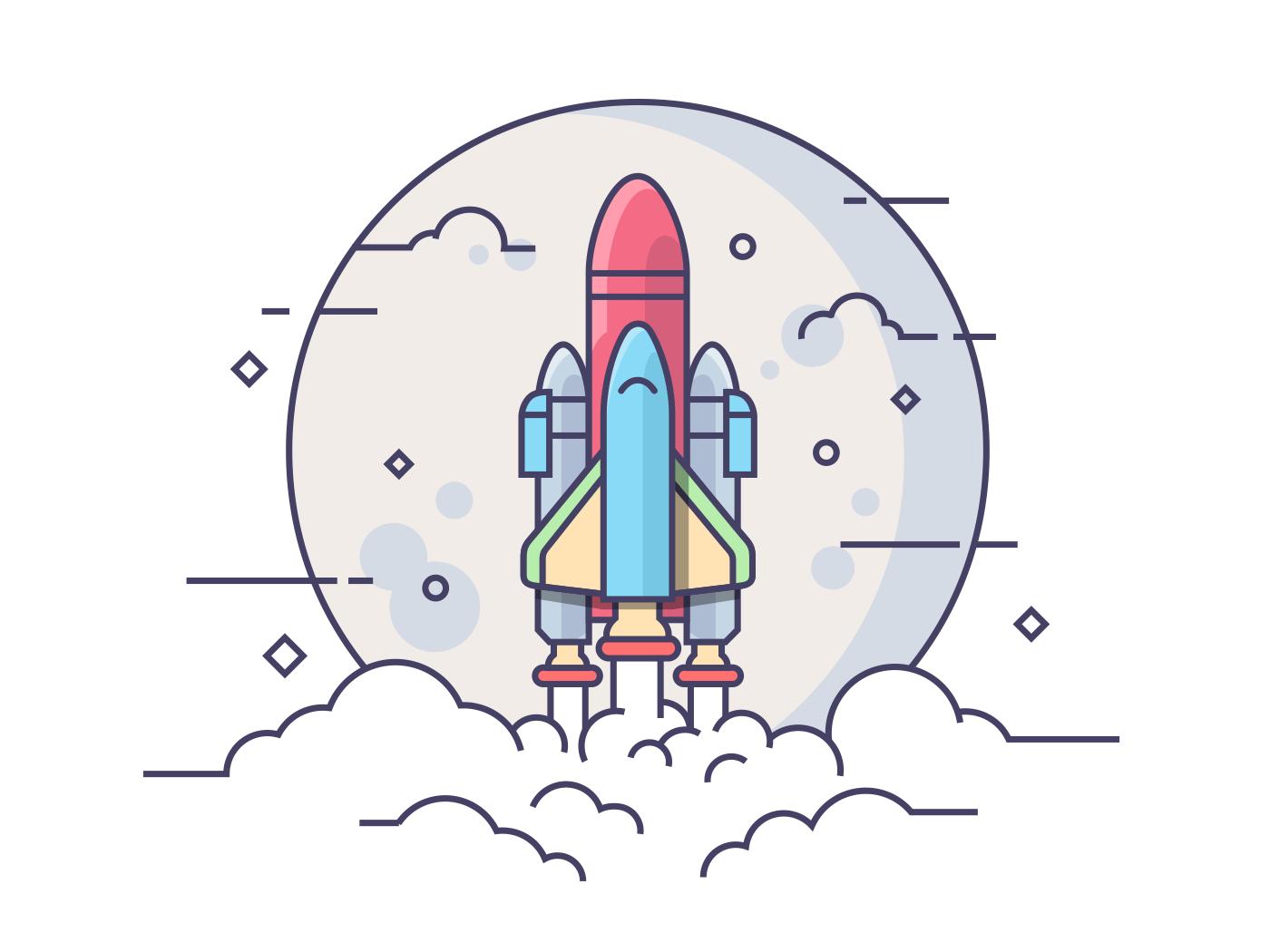 Startup space rocket line vector illustration