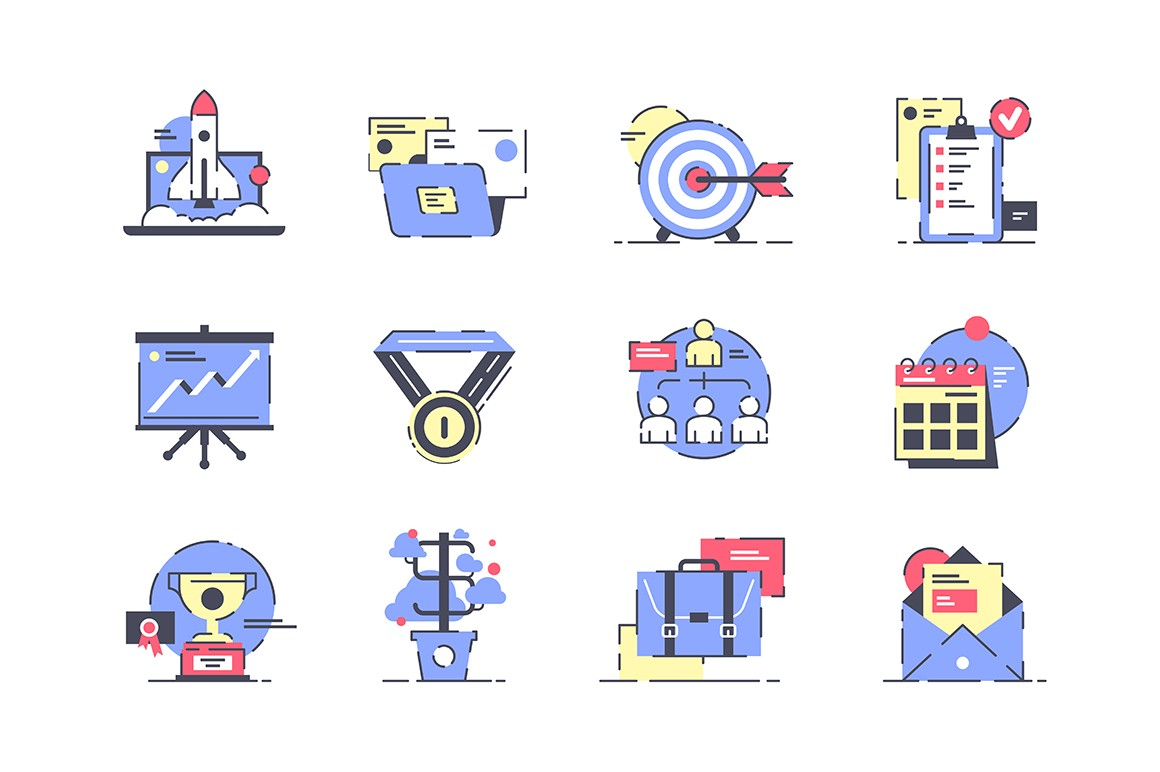 Flat startup icon set with rocket, presentation and development.