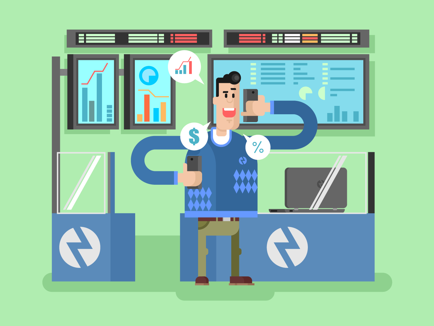 Stocks broker character flat vector illustration